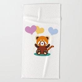 Lovely Red Panda Beach Towel