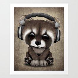 Cute Baby Raccoon Deejay Wearing Headphones Art Print