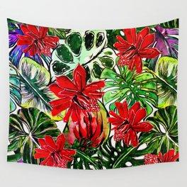 Exotic Passiflora Flowers Jungle Aloha Pattern Wall Tapestry