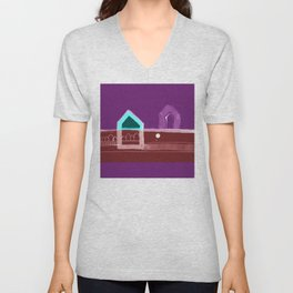 """Red, Black Houses No.: 03 in Brown and Purple """"Paper Drawings/Paintings"""" Unisex V-Neck"""