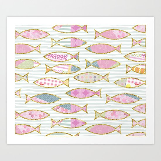 Fancy Fish pastel patchwork pattern Art Print