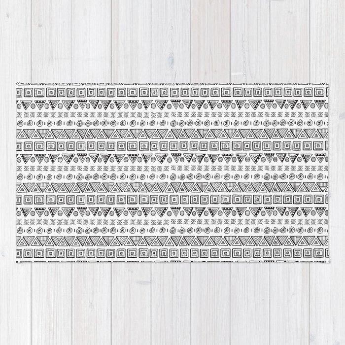Black & White Hand Drawn Pattern Rug