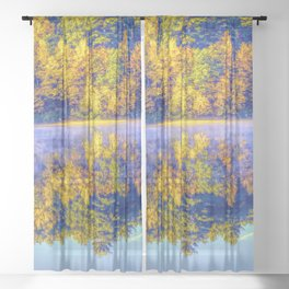 Walden Pond Autumn Time Concord Massachusetts Panorama  Reflection Sheer Curtain