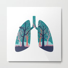 Human lungs with abstract forest inside illustration Metal Print