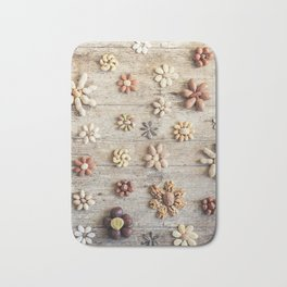 Dried fruits arranged forming flowers (4) Bath Mat