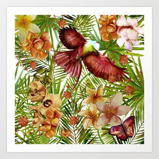 Aloha- Tropical Jungle Bird, Butterfly and Flowers Garden Art Print