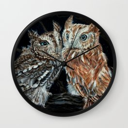 young love on a starry night - screech owls Wall Clock