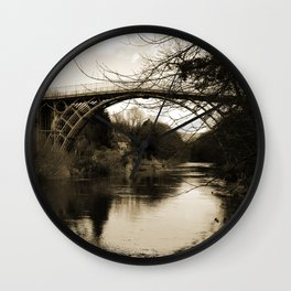 Worlds First Ironbridge over River Severn in England in sepia Wall Clock