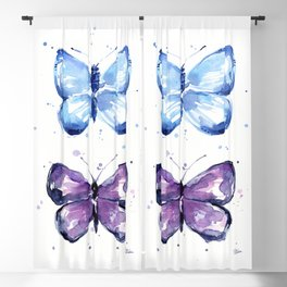 Blue Butterfly Watercolor Blackout Curtain