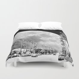 California Dream // Fantasy Moon Beach Sidewalk Black and White Palm Tree Silhouette Collage Artwork Duvet Cover