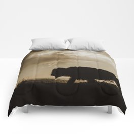 Bison in the Storm - Badlands National Park Comforters
