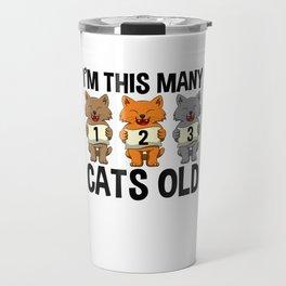 I'm This Many Cats Old 2 Yr Boy Girl Birthday Idea Travel Mug