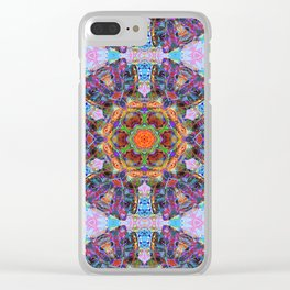 Mandala with colorful collage Clear iPhone Case