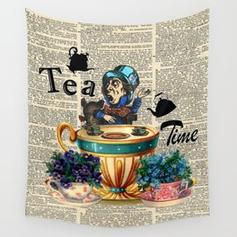 Tea Time - Alice In Wonderland - Vintage Dictionary Page Wall Tapestry