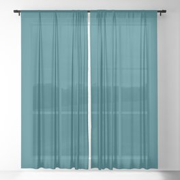 Clear Day Ocean Blue Solid Colour Palette Matte Sheer Curtain