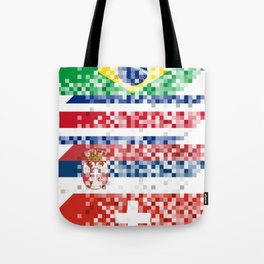 Abstract composition of the flags of national sports teams Tote Bag