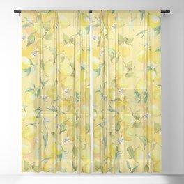 Watercolor lemons 5 Sheer Curtain