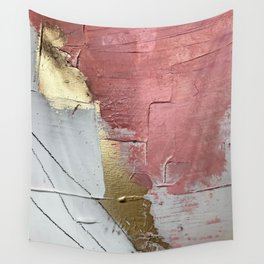 Darling: a minimal, abstract mixed-media piece in pink, white, and gold by Alyssa Hamilton Art Wall Tapestry