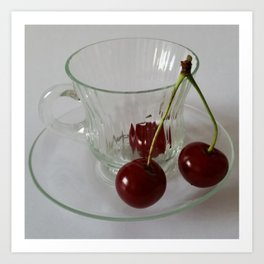 Cherries in a cup     Art Print