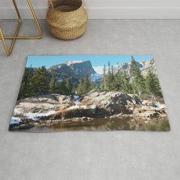 Watercolor Landscape, Dream Lake 01, RMNP, Colorado Rug