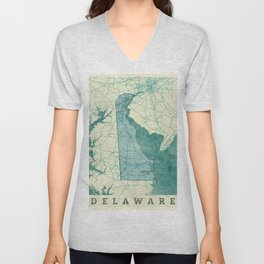 Delaware State Map Blue Vintage Unisex V-Neck