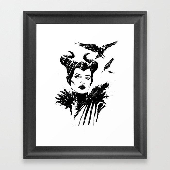 Maleficent Fan Art Angelina Jolie from Sleeping Beauty Gerahmter Kunstdruck