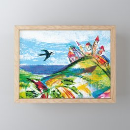 Swallow in the fairytale, painted pattern for kids, colourfull illustration Framed Mini Art Print