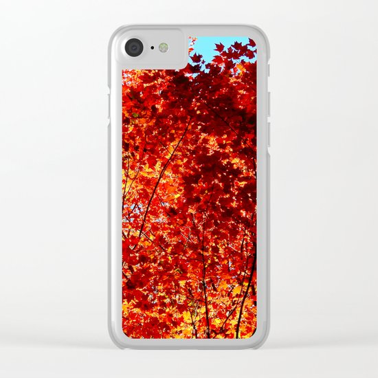 Red Maple Explosion Clear iPhone Case