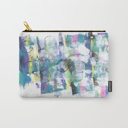 Green Blue Abstract with Black Circles Carry-All Pouch