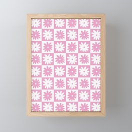 Pink And White Checkered Floral Pattern Framed Mini Art Print