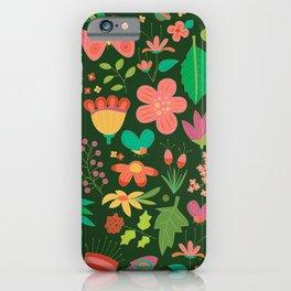 Garden Scatter - Warm Spring Colours on Dark Forest Green (floral pattern) iPhone Case