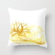 The Golden Lotus Throw Pillow