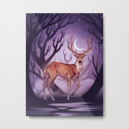 Forest Guardian - Deer in a moonlit forest with crescent moon Metal Print