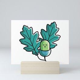 Kawaii Cute Acorn with Oak Leaves Mini Art Print
