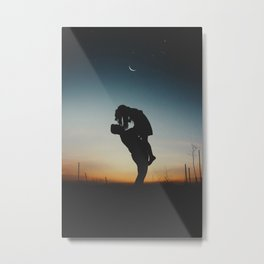 WOMAN - MAN - MOON - SUNSET - PHOTOGRAPHY Metal Print