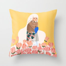 Waiting in bunk of flowers Throw Pillow