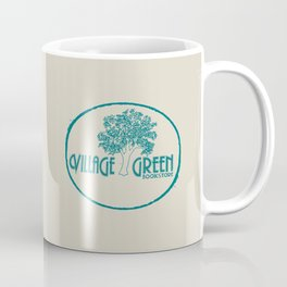 Village Green Bookstore Green on Tan Coffee Mug
