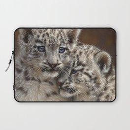 Snow Leopard Cubs - Playmates Laptop Sleeve