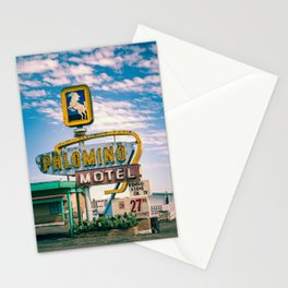 Palomino Motel Vintage Neon Sign in Tucumcari New Mexico along Route 66 Stationery Cards