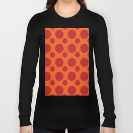 RED DOTS ON A ORANGE BACKGROUND Abstract Art Long Sleeve T-shirt