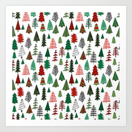 Christmas tree forest minimal scandi patterned holiday forest winter Art Print