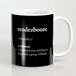 Rendezbooze black and white contemporary minimalism typography design home wall decor black-white Coffee Mug
