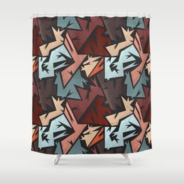 Abstract urban backdrop with curved geomtry seamless pattern and grunge spots in street style Shower Curtain