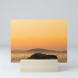 Beautiful Lakescape Yellow Orange Sunset Sky Mini Art Print