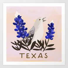 Texas State Bird and Flower Art Print