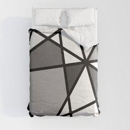 Triangels Geometric Lines dark grey  - grey - white Comforters