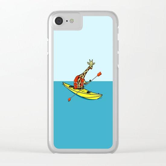 Giraffe Sea Kayaking Clear iPhone Case