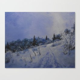 winter first comes in the mountain  Canvas Print