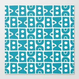 Funky Mid Century Modern Pattern Turquoise Canvas Print