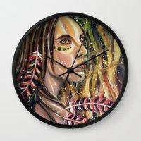 phoenix Wall Clocks featuring phoenix by Beth Jorgensen